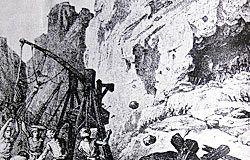 Grabado del siglo XIX de la batalla de Cuadonga