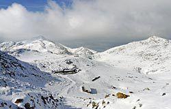 Puerto de L'Angliru tras una nevada.