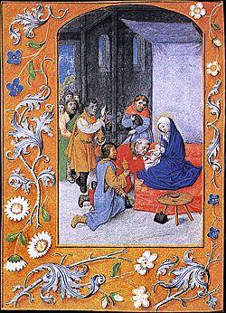 """La adoración de los magos en el """"Libro de horas de Hastings"""". Siglo XVI"""