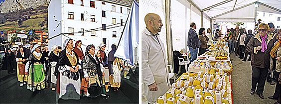 De izda a dcha: Procesión en las Fiestas de San Antón y Certamen de Queso d'Afuega'l Pitu