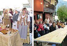 De izda a dcha: Stand de So la Malena en el XIX Certamen de Queso Afuega'l Pitu y público asistente a una conferencia en El Vallín
