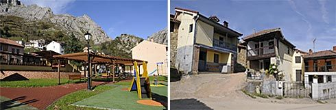Parque en La Foz de Morcín y calles de Busloñe