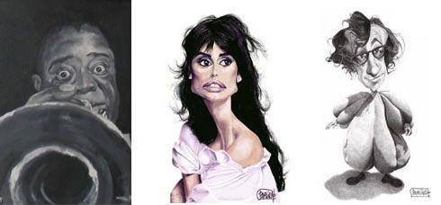 Pintura en acrílico de Louis Armstrong; Caricatura digital de Penélope Cruz; Caricatura a lápiz de Woody Allen