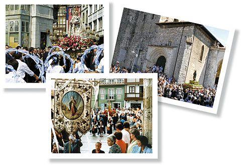 Agrupación de Bandos de Llanes. De izquierda a derecha: Bando de La Magdalena, Bando de San Roque, Bando de la Virgen de la Guía (Llanes)