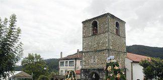 Procesión del ramu organizada por la Asociación Cultural San Roque de Libardón.