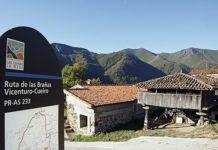 Inicio de una ruta en la localidad de Taja (Teverga)
