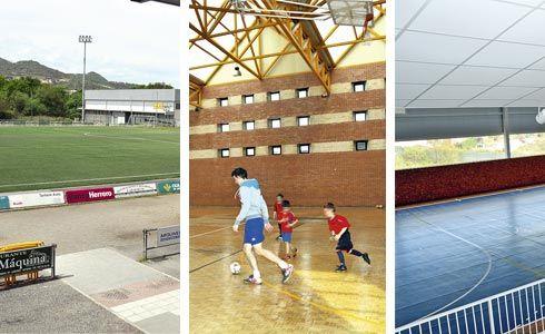 Campo de fútbol de Lugones, polideportivo en Carbayín Alto y polideportivo en La Fresneda