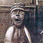 Representación de Santa Apolonia en un santuario de la Baja Bretaña francesa, según una postal antigua.