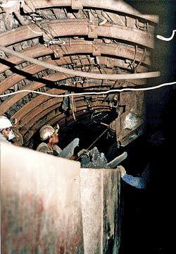 Mineros en galería