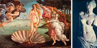 El Nacimiento de Venus de Botticelli y La Venus de Milo.