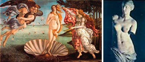 Venus de Botticelli y Afrodita de Milo.
