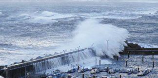 Puerto de Candás en el temporal de febrero de 2014