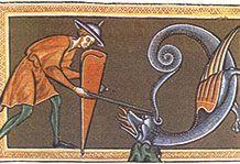 """Un encantador recitando sus palabras al áspid, una sierpe monstruosa según el """"Bestiario de Oxford"""" (siglos XII-XIII)"""
