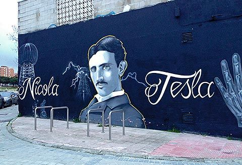 Graffiti de Nikola Tesla en Santa Eugenia, Madrid