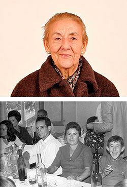 Arriba, Pilar González en la actualidad. Abajo, acompañada de su marido y de su hijo José Luis