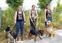 De izda. a dcha.: Tamara Bousoño con Cinza, Angela Carrubba con Debra e Isabel Fernández con Ela