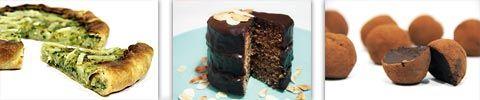Quiche de brócoli y coliflor; Tarta Sacher; Trufas de chocolate