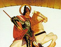San Jorge matando al dragón en la capilla de Munón (Allande)