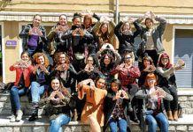 Algunas integrantes de la Federación de Mujeres Jóvenes, que participan en la campaña