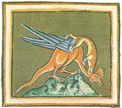 """La comadreja combatiendo al Basilisco en el """"Bestiario de Oxford"""" (Siglos XII-XIII)."""