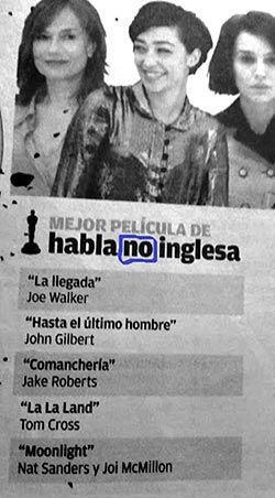 Error en prensa asturiana con los Oscar