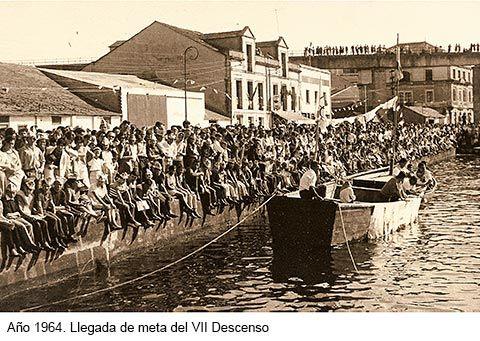 Año 1964. Llegada de meta del VII Desceso (Navia)