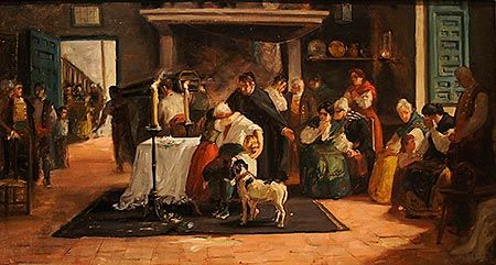 El velatorio, Ulpiano Checa. Óleo sobre lienzo