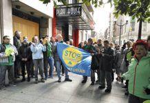 La Plataforma Antidesahucios de Asturias durante una manifestación