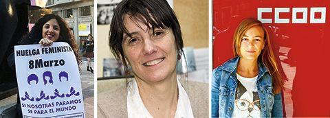 Sara Combarros. Portavoz de la Comisión 8-M Asturias / Marta Ibáñez Pascual. Socióloga de la Universidad de Oviedo / Ana María Rodríguez. Responsable de Igualdad de CCOO