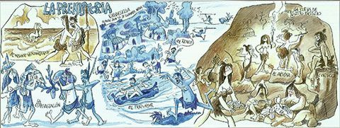 Panel de Mingote en el Paseo de la Grúa de Ribadesella que habla del hombre de Tito Bustillo