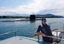 Anita Sánchez Pandal saliendo con el submarino Tramontana / Foto cedida por Anita Sánchez