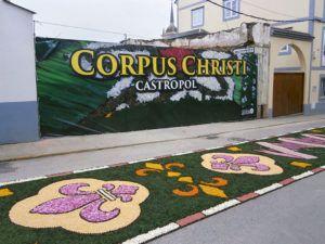 Alfombra floral con motivo del Corpus Christi, en Castropol
