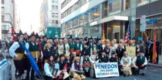 Banda de Gaitas El Penedón (Castropol) en Nueva York / Foto: BG El Penedón