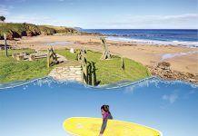 Playa de Arenal de Morís, surfista y Festival Motorbeach en la playa de La Espasa (Caravia)
