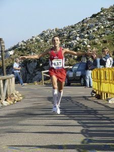 José Luis consiguiendo el récord de la subida al Angliru en 2005