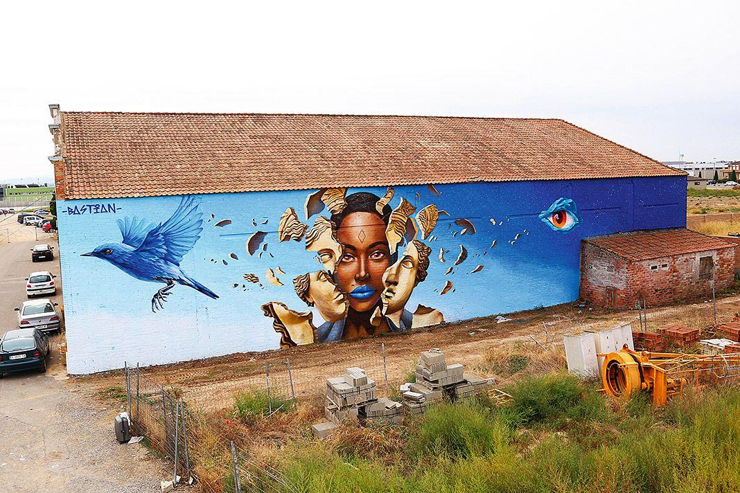 """Mural """"Libertad"""" de Bastián Prendes en Torrefarera (Lleida). 2º premio en el Festival Internacional Printing Walls"""