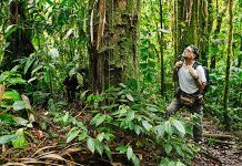José María Fernández Díaz-Formentí en el interior de la selva del sendero PNS (Parque Nacional Sumaco), Reserva Biológica del Río Bigal. Orellana, Ecuador