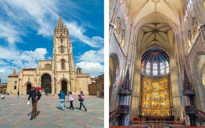Peregrino en la plaza de La Catedral y retablo en el Altar Mayor de La Catedral (Oviedo)