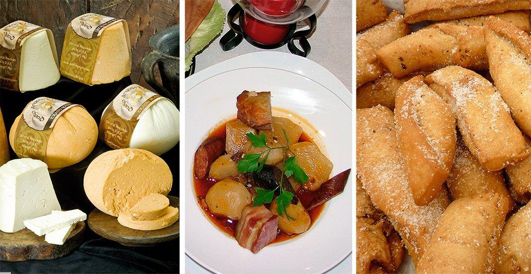 Gastronomía típica de Morcín: Queso Afuega'l Pitu, Pote de nabos y Casadielles