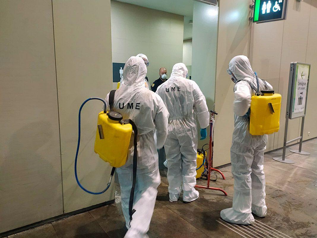 Labores de desinfección de la UME