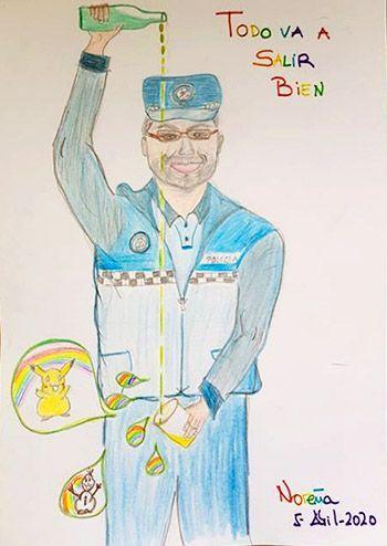 Dibujo dedicado a Raimundo García, Policía Local de Noreña