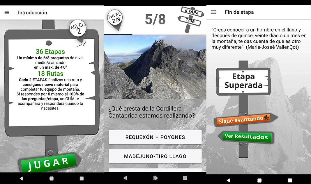 Imágenes de la App Trivial Cordillera Cantábrica