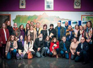 Grupo de artistas socios de GAPAsturias y el presidente Pablo Riestra