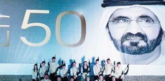 La Banda de Gaitas Reina del Truébano en Dubai, donde tuvo ocasión de tocar ante el Jeque de los Emiratos