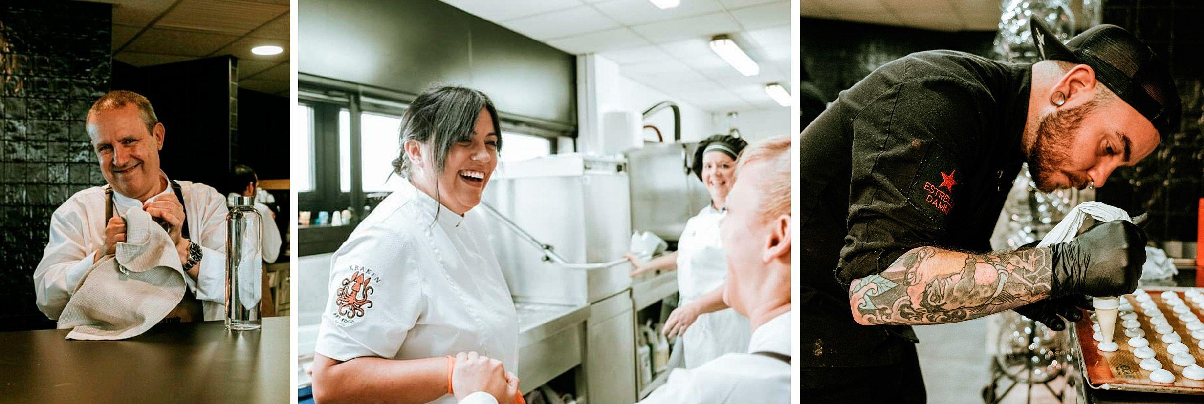 Parte del equipo del restaurante Kraken Art Food del Acuario de Gijón