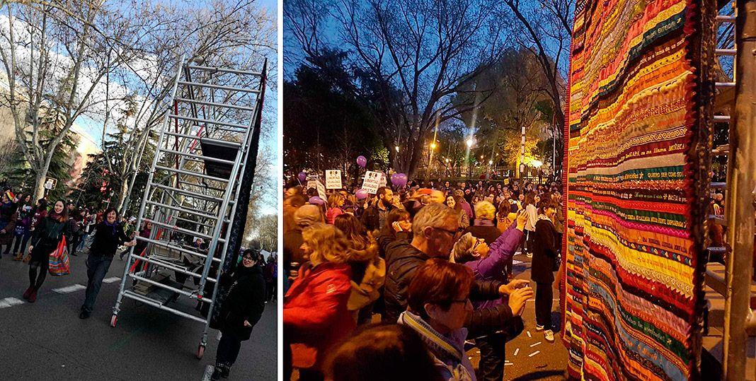 El 8 de marzo de 2019, el tapiz #todxsauna recorrió las calles de Madrid sobre un andamio