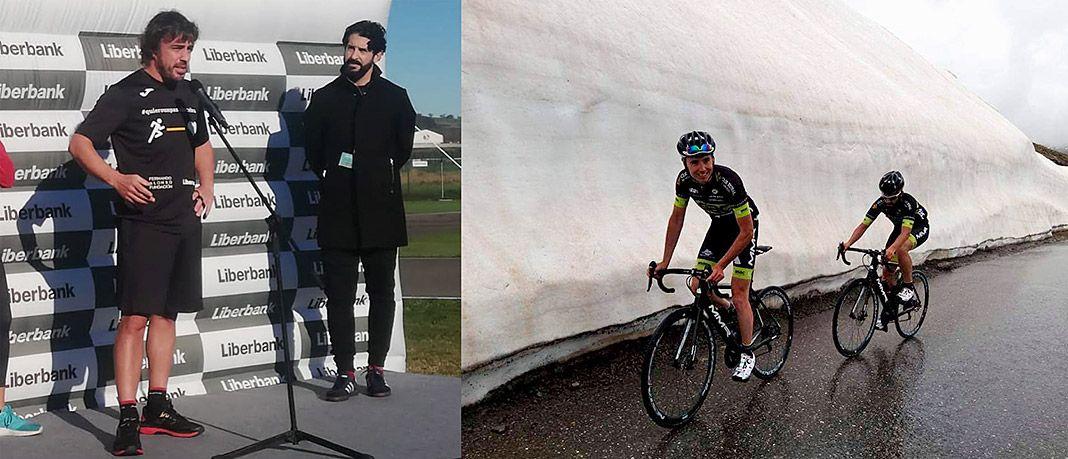 A la izda., Marco Rodríguez con Fernando Alonso en la Carrera Solidaria de Nochebuena. A la dcha., subida al Galibier para el programa 'Pedaladas'