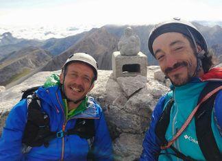 Julián Morcillo y Tito Parra en la cumbre del Urriellu