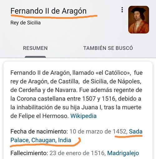 Fernando II de Aragón era Indio
