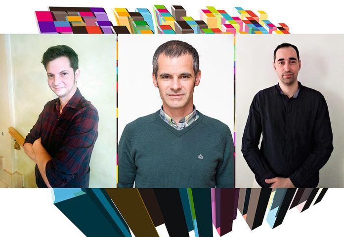 De izda. a dcha., Ricardo Esgueva, Esteban Ruíz y Agustín Costa. Empresa Triskelsoft